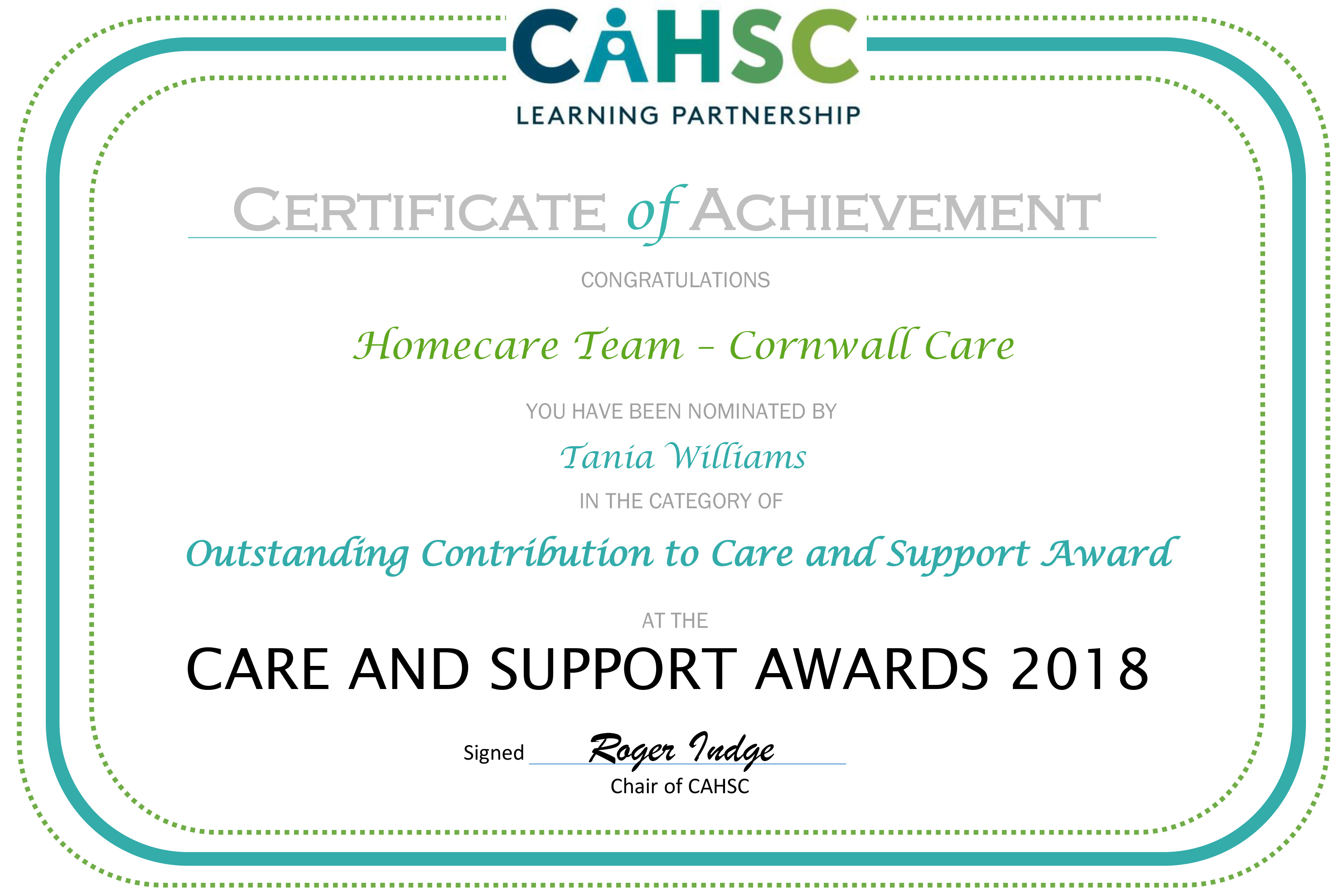 Care Awards Certificate - Homecare Team Cornwall Care.jpg